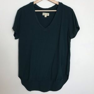 CLOTH & STONE Forest Green Hi Lo Short Sleeve Top